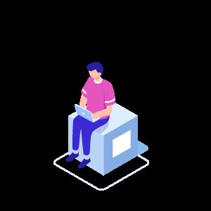 Isometrische Darstellung: Mann im sitzt mit Laptop auf Box