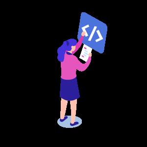 Isometrische Darstellung: Frau zeigt auf HTML-Code