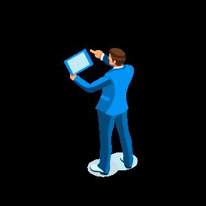 Isometrische Darstellung: Mann im blauen Anzug mit Tablet